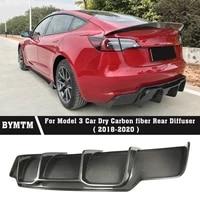 v style car accessories bumper dry carbon fiber rear diffuser for tesla model 3
