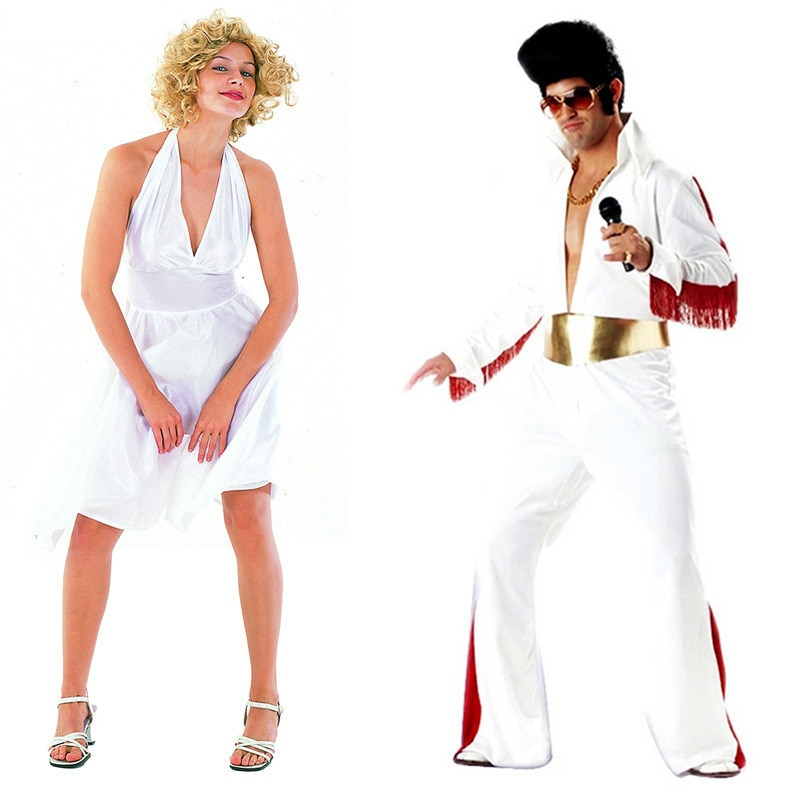 2021 Marilyn Monroe Cosplay Elvis Presley Halloween Costumes For Woman Men Adult Party Show Fancy Role Play