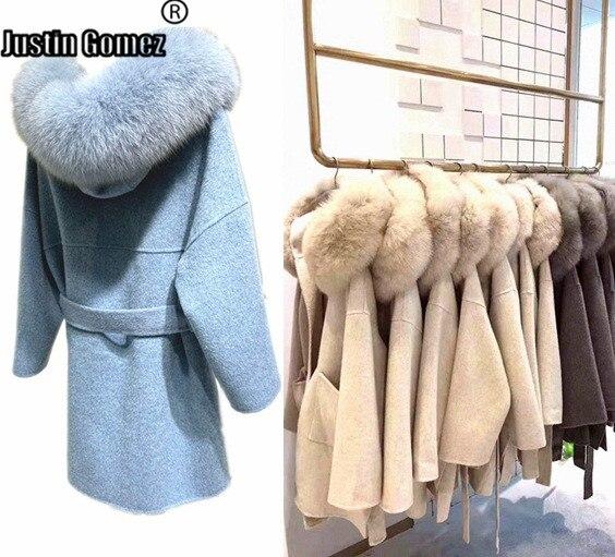 Novo 2020 moda real cashmere casacos plus size senhoras elegantes outono inverno longo outerwear de lã
