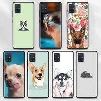 cover for samsung a72 a91 a52 a51 a71 a42 5g a12 a02s a01 a32 a01 a11 a21 a21s a31 a41 coque shell french bulldog with flower