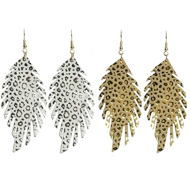 Pendientes de cuero de cabra auténtica con plumas de Cpop para mujer, pendientes de hoja brillantes a la moda, accesorios de joyería de cuero