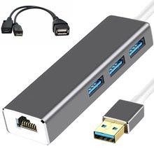 3 HUB USB Ethernet LAN + adaptador de CABLE OTG USB para palo de fuego 2ND GEN o fuego TV3