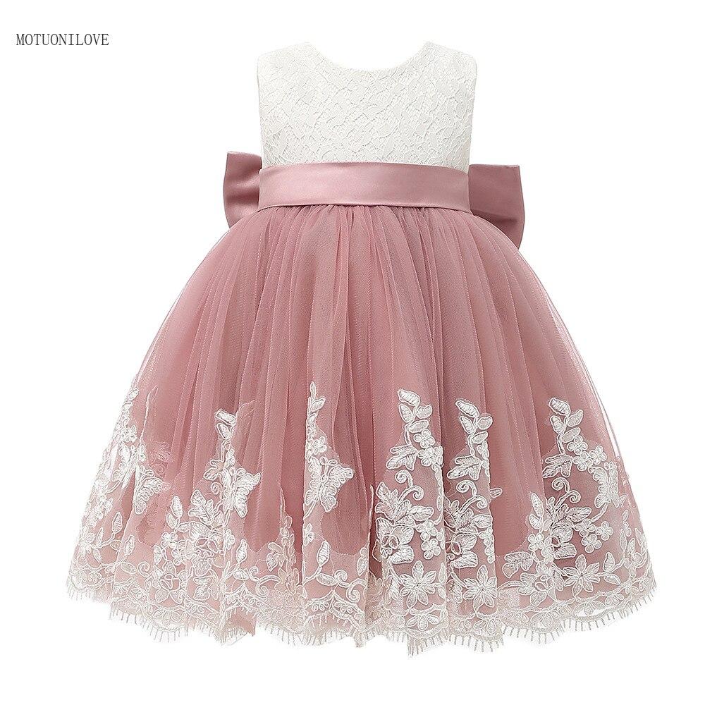 Детское праздничное платье на день рождения, красивое розовое кружевное платье принцессы с бантом, детское платье для первого причастия, вы...