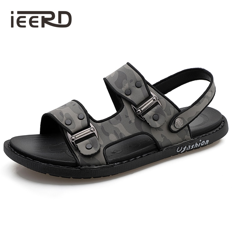 summer men sandals breathable beach shoes hook Summer Sandals Men Slippers Fashion Breathable Shoes For Men Beach Sandals Microfiber Leather Sandalias Outdoor Camouflage Shoes