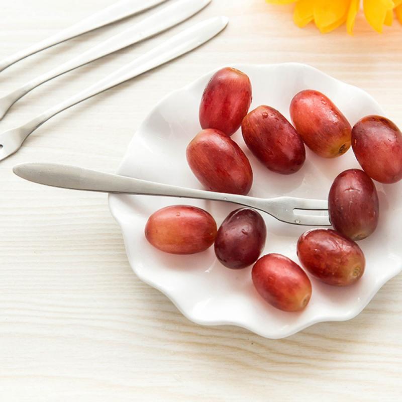 1 Tenedor de fruta de acero inoxidable, tenedor de dos dientes, Mini tenedor portátil para pastel de fruta, vajilla de cocina para cena, banquetes, fiesta