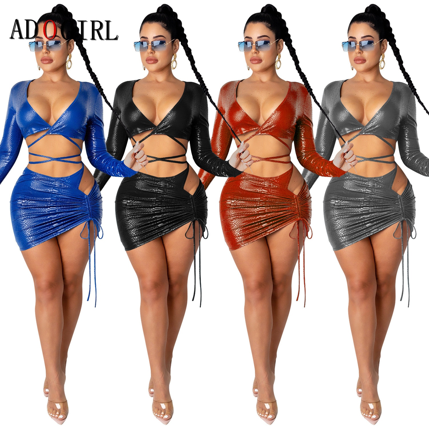 Adogirl Two Piece Set Women Sexy Long Sleeve V Neck Crop Top And Mini Skirt 2 Piece Outfits Sexy Night Club Sets Plus Size simenual knitted ribbed bandage patchwork two piece sets women long sleeve v neck club tie front outfits crop top and pants set