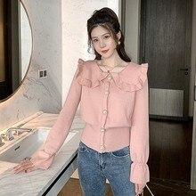 Pink Cardigan Women Spring 2020 Korean Style Ruffle Collar Single Breasted Flare Sleeve Knit Wool Sweater Tops Knitwear T429