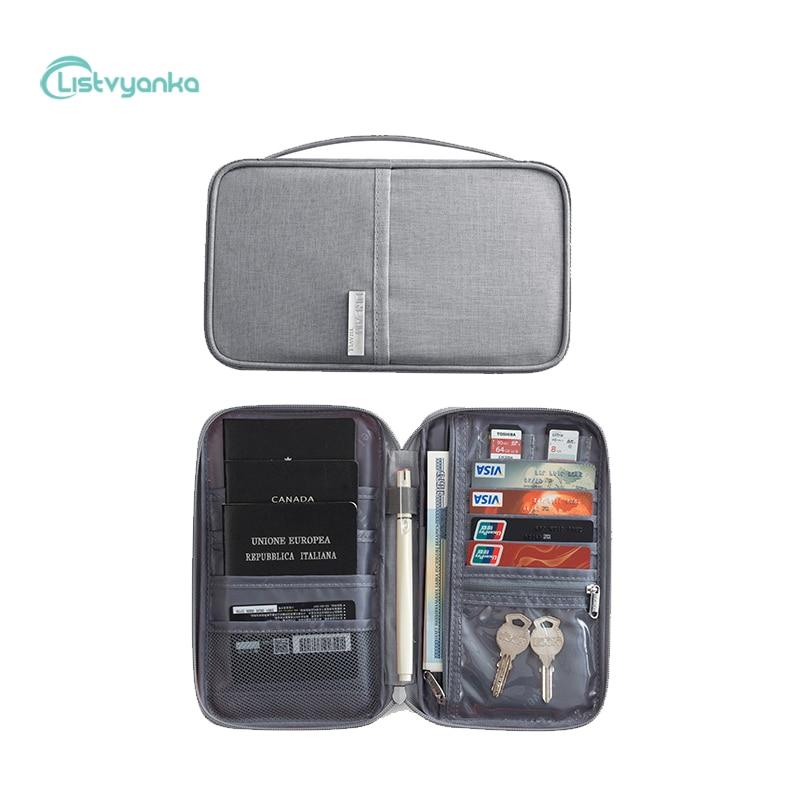 Bolsa de almacenamiento de viaje, porta pasaporte, cartera, bolso de documentos, impermeable, portátil, funda para tarjeta, bolsa de Cable, Gadget organizador