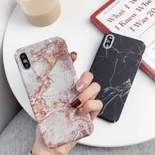 Funda de piedra de granito con textura de mármol para iPhone XR XS Max XS Utral, carcasa trasera fina de PC duro mate para iPhone 6 6s X 7 8 Plus