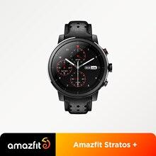 Amazfit-reloj inteligente Stratos +, pulsera con correa de cuero genuino, con insignia, caja de regalo, zafiro 2S, novedad de 2019