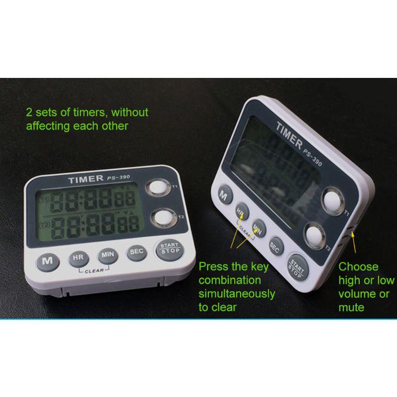 2 Channel Timer Stopwatch Kitchen Cooking Countdown Alarm Clock Reminder 0.01s M7DA