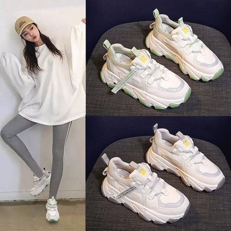 حذاء رياضي نسائي غير رسمي ، حذاء رياضي ، مع منصة متناسقة ، أحمر ، سوبر فاير ، مجموعة ربيع جديدة