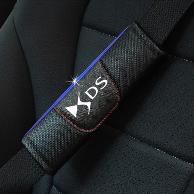 For Citroen DS DS4 DS4S DS5 DS6 DS7 DS5LS DS3 2pcs Carbon Fiber Leather Car Seat Belt Pads Seat Shoulder Strap Pad Cover