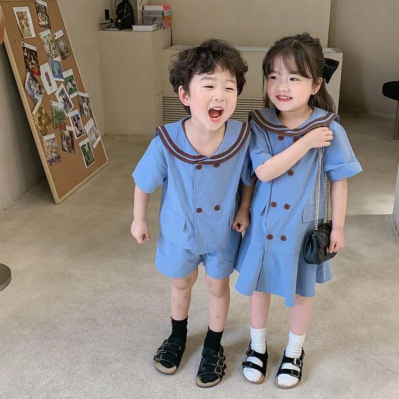 ملابس شقيقة للأطفال ملابس متشابهة للأولاد الرُضَّع قطع علوية + شورت يناسب الرُضَّع البنات فستان قطعة واحدة ملابس أطفال جديدة 2021 Summe
