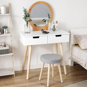 80×40×128CM Bedroom Furniture Dressing Table With Stool And Mirror 2 Drawer Girl Women Makeup Dressers Dressing Table HWC
