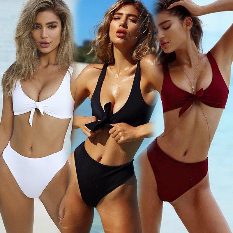 Conjunto de Bikini a rayas, novedad del 2020 en traje de baño de estilo vendaje de realce para mujer, Micro bañador brasileño de Tanga, Bikinis sexys de mujer