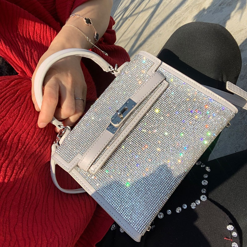 Bag For Women Silver Diamonds Portable Bag evening Clutch Purse Women Fashion Mini Chain Shoulder Bags Female Clutches Pouch