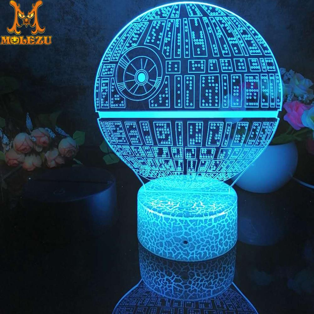 Luz Led 3D de noche, figura de estrella de la muerte, luz nocturna para decoración dormitorio infantil, lámpara de escritorio de 16 colores con mando a distancia