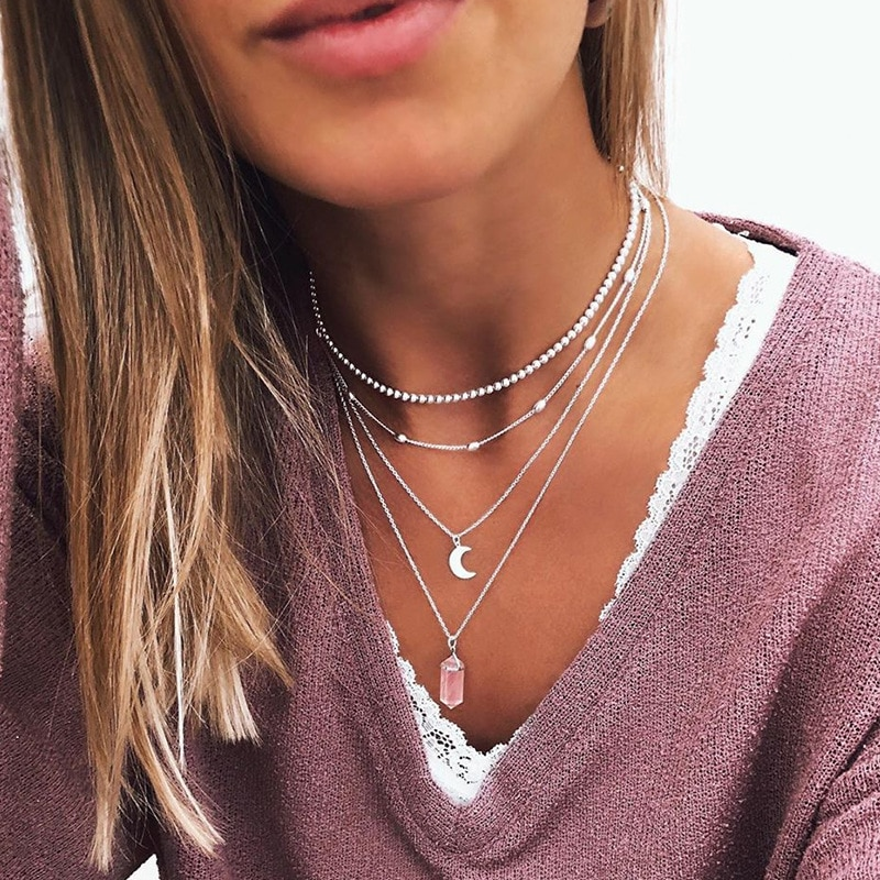 Collares de fluorita colgantes de cristal suspensión Natural piedra preciosa cuarzo bala Hexagonal péndulo de Reiki Chakra pendulo