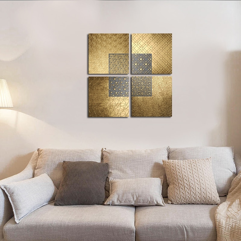 Luxury Wall Art Modern Nordic Abstract Line Posters Geometric Gold Canvas Painting Modern Pictures for Bedroom Living Room Decor