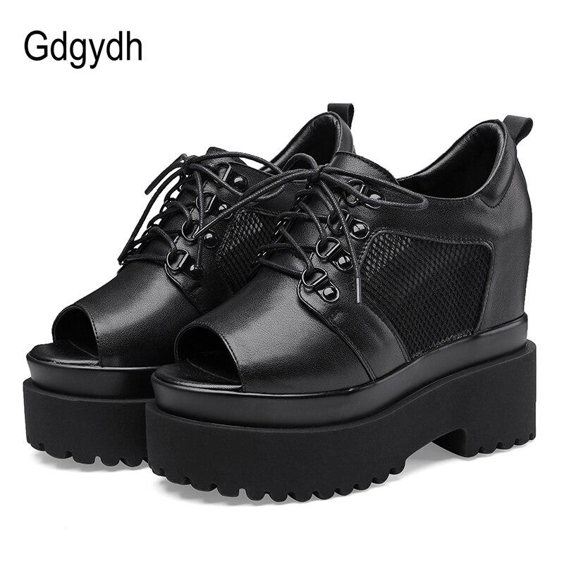 Gdgydh-حذاء نسائي بنعل سميك من الجلد الطبيعي ، حذاء صيفي بنعل سميك ، شبكة مسامية