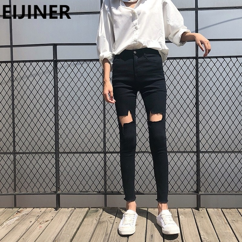 Black Plus Size High Waist Ripped Skinny xs Jeans Women's Sexy Fashion Casual Super Stretchy Pants Harajuku Vintage Streetwear