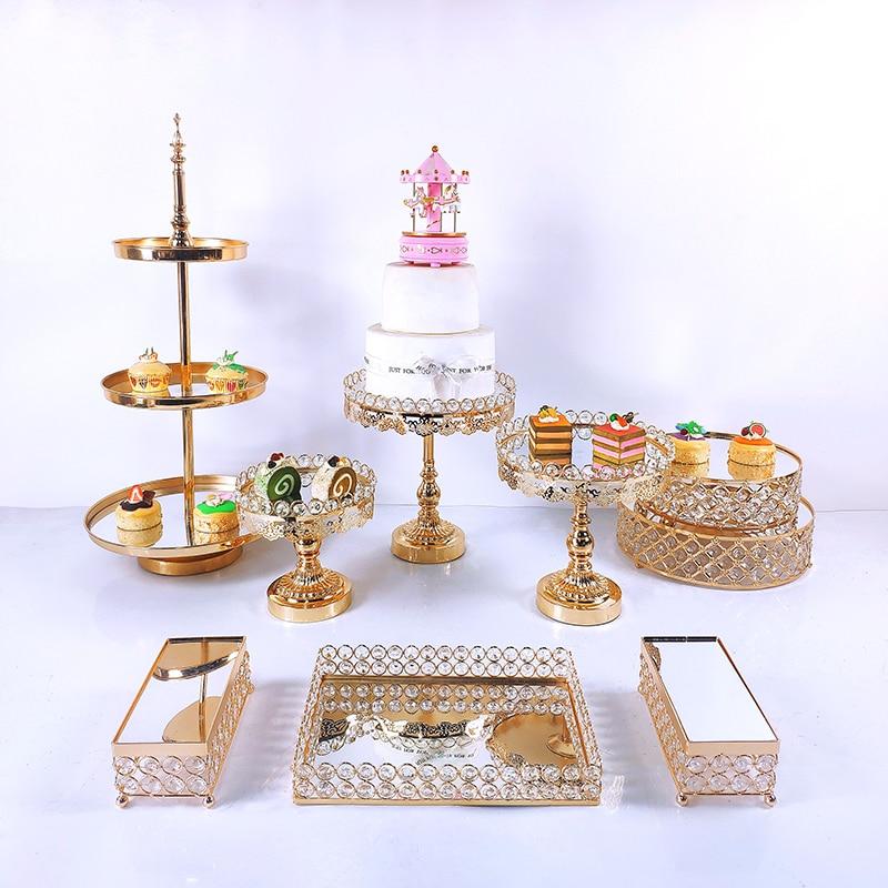 8-12pcs  Acryl Mirror Metal Cake Stand Set Round Wedding Birthday Party Dessert Gold Cupcake Pedestal Display Plate Home Decor
