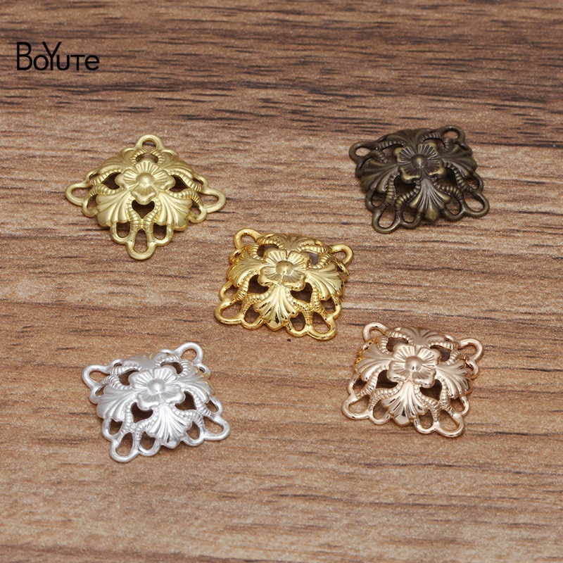 BoYuTe (100 шт./лот) 14 мм серебро золото бронза металл латунь Филигранное украшение цветами фурнитура