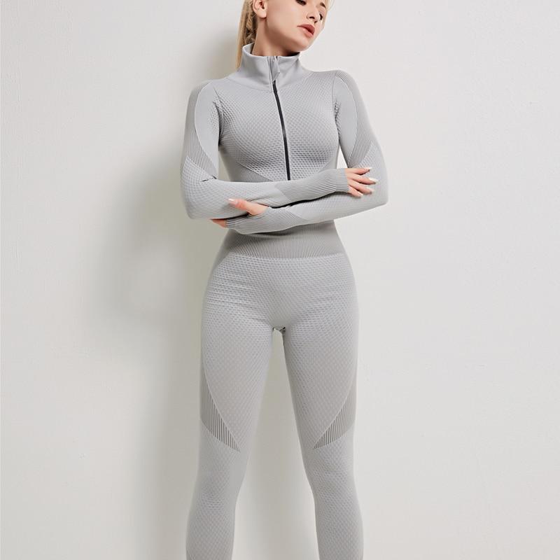 2021 Seamless Yoga Set Women Fitness Gym Clothes Long Sleeve Shirts High Waist Running Leggings Workout Pants Sports 2 Piece Set