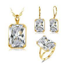 Frauen Schmuck Set Luxus Ohrringe 925 Sterling Silber Ring 18K Gold Anhänger Ringe Ohrringe Echt Gold Schmuck Für frauen sets