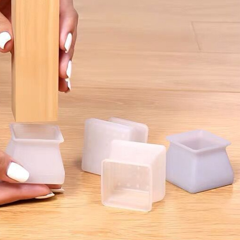 Silicone Furniture Leg Protection Cover Table Feet Pad Floor Protector Square for Home GQ