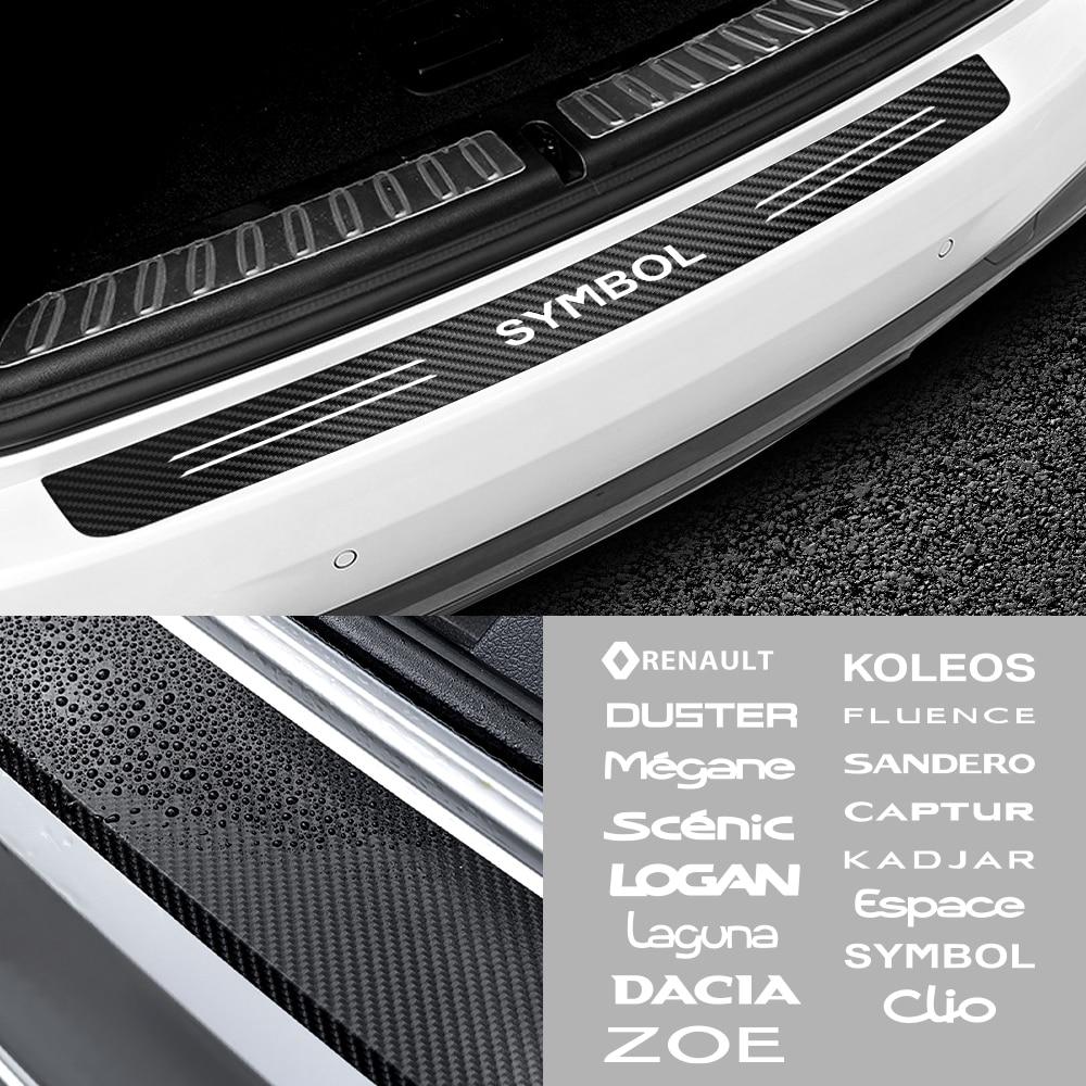 Protector de parachoques de maletero trasero impermeable de fibra de carbono para Renault DACIA Duster Megane Scenic Logan Loguna Zoe, etc.