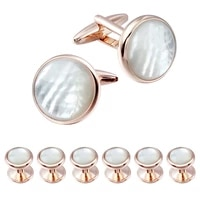mens mother of pearl cufflinks and dress studs set for wedding party
