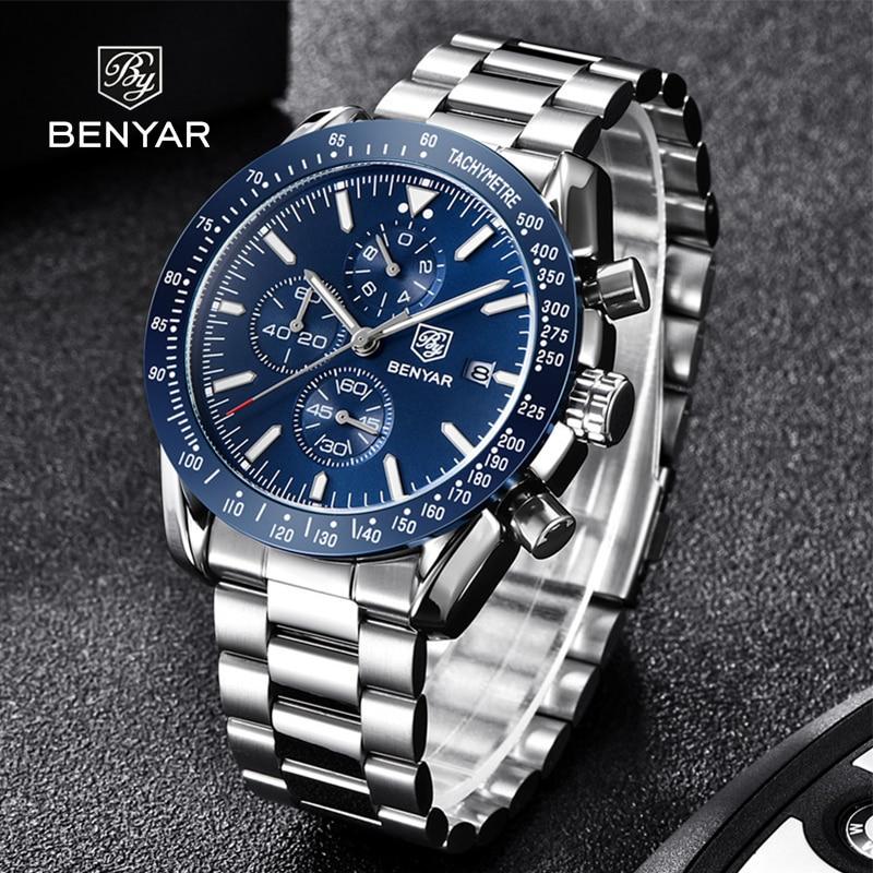 Benyar-ساعة ميكانيكية أوتوماتيكية فاخرة لرجال الأعمال ، ساعة كرونوغراف مقاومة للماء متعددة الوظائف ، 2021