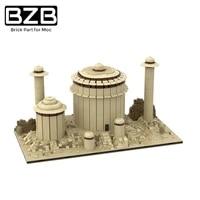 bzb moc star series war jabbas desert palace tatooine town building block model kids toys boy diy best brithday gifts