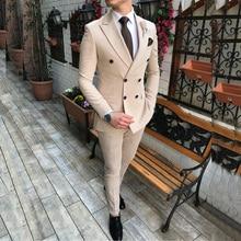 2020 nuevo traje de hombre Beige 2 piezas solapa de muesca doble botonadura esmoquin Casual ajustado para boda (Blazer + Pantalones)