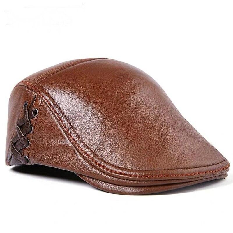 قبعة جلدية للرجال ، قبعة شتوية للرجال ، حماية للأذن الدافئة ، 100% جلد طبيعي ، قبعة أبي ، بالجملة ، عظام ترفيهية