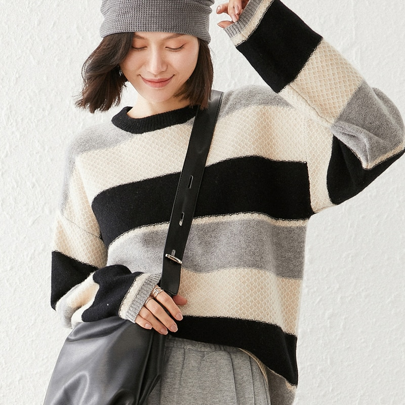 2021 woman winter 100% Cashmere sweaters knitted Pullovers jumper Warm Female O-neck blouse blue long sleeve Patchwork enlarge