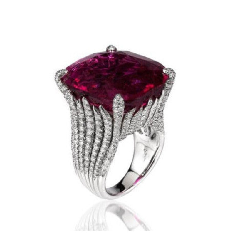 Luxury Trendy 12*14mm Ruby Ring for Women Charms Geometry Classic Platinum Plating Jewelry Large Gemstones Banquet Queen Party