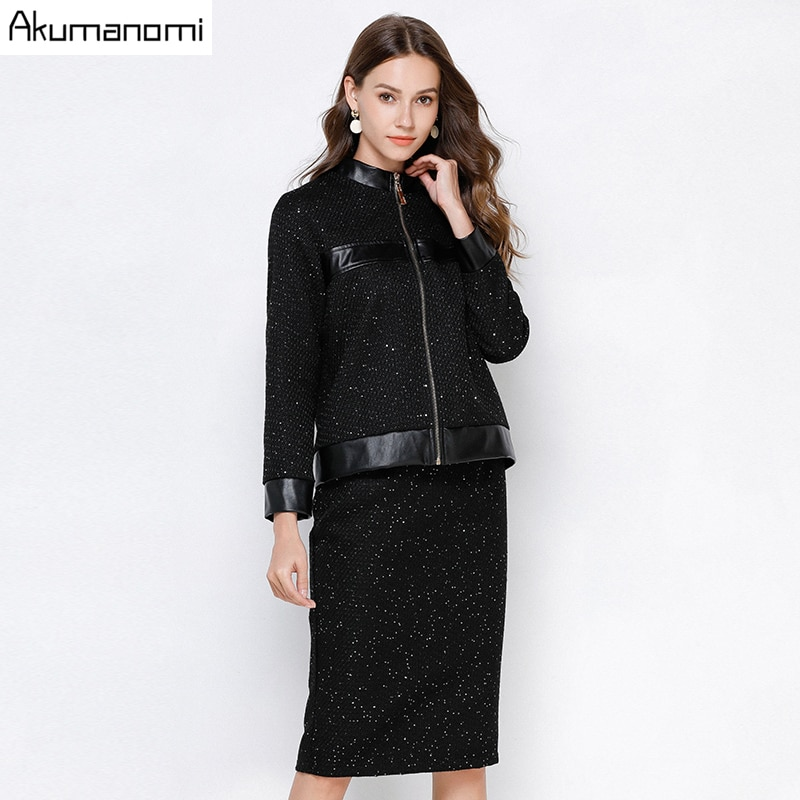 2 Piece Set Women Autumn Black Plus Size 5xl 4xl 3xl-L Stand Collar Full Sleeve Tops Jacket Skirt Two Piece Outfits Sweatsuit