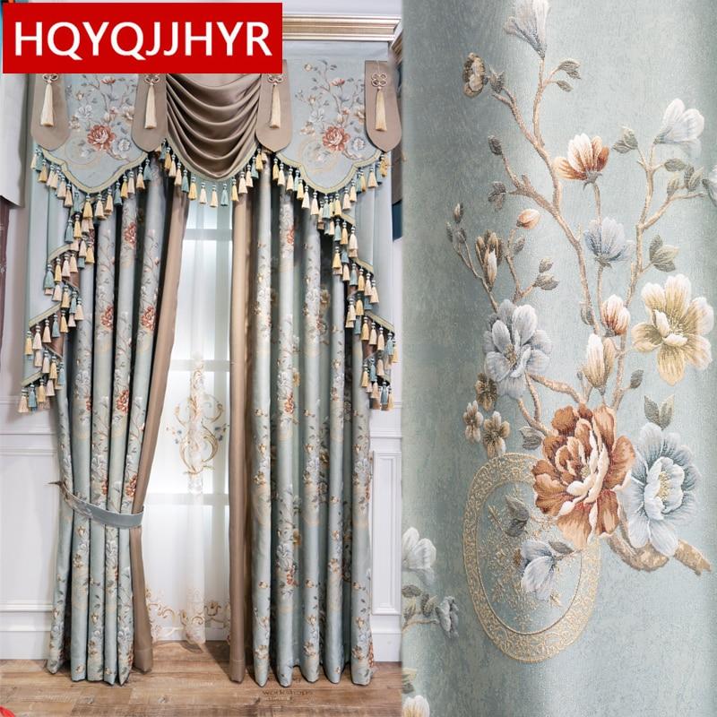 Cortinas para oscurecer completamente en jacquard de lujo de estilo europeo azul, para ventanas de salón, cortinas elegantes de alta calidad para dormitorio