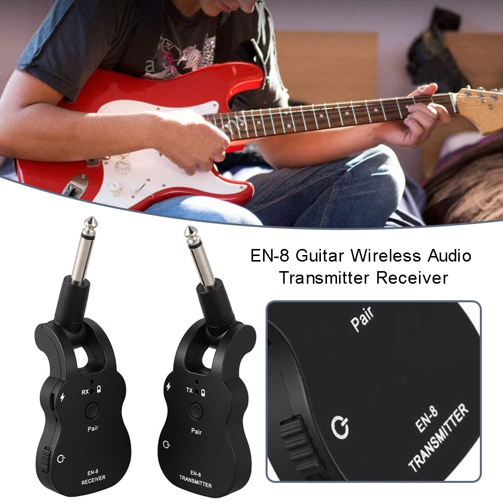 Guitar Wireless Transmitter Receiver System EN8 48KHz Audio Built-In Rechargeable USB Audio Transmitter For Electric Guitar Bass enlarge