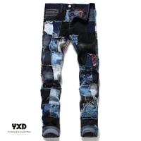 2021 hot sale men jeans for man skinny button ripped painted patch beggar pants mens high quality cotton slim fit hip hop jeans