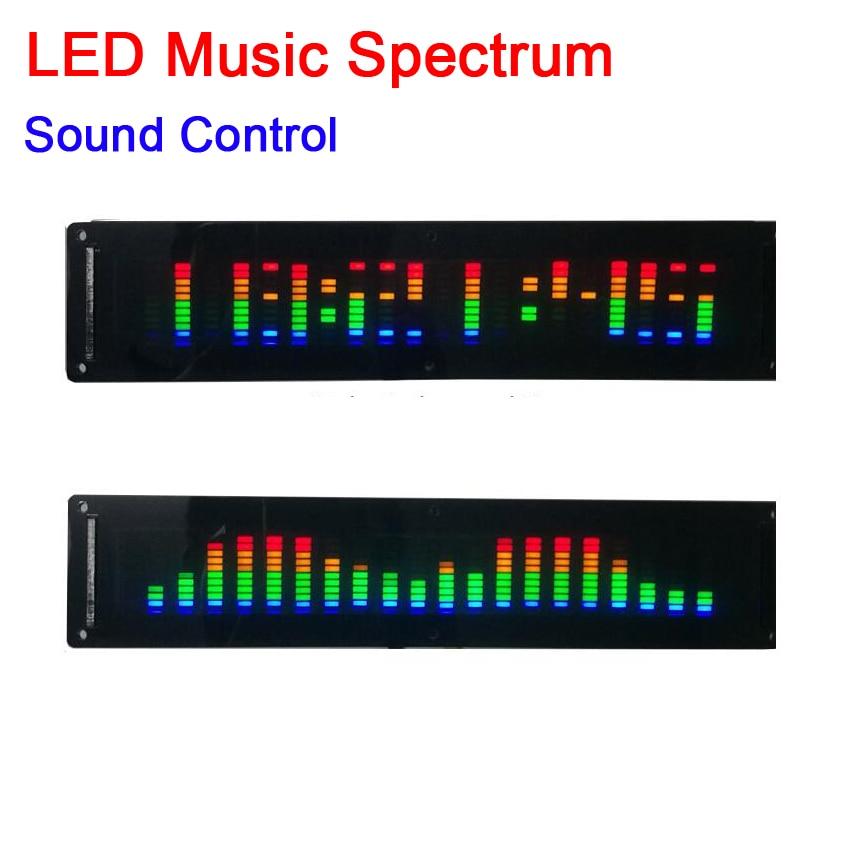 LED الموسيقى الطيف شاشة عرض + ساعة MP3 سيارة مكبر كهربائي مستوى الصوت مؤشر إيقاع VU متر وحدة التحكم في الصوت
