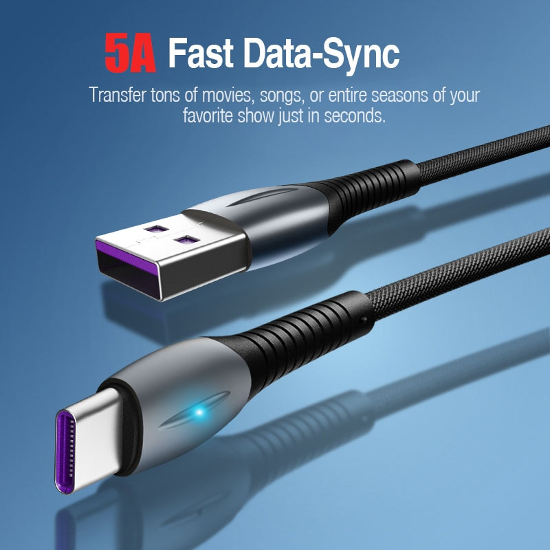 Cable de carga rápida 5A, Cable USB Tipo C, Tipo C, 480mbps,...