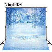 VinylBDS Blue Frozen Snow Children Backdrops Winter Fairy Tale Photography Background Cartoon Princess Backdrop for Photo Shoot