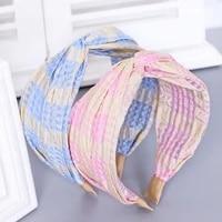 headband hairband for women girl yarn plaid fresh sweet korean cross fashion hair accessories head wrap wholesale