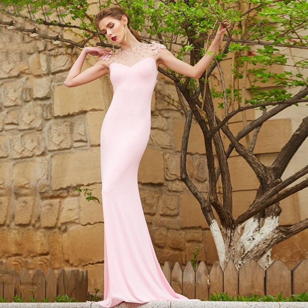 Review Simple Beading Wedding Dress For Bride Sleeveless Illusion Back Floor Length Pink Bridal Gowns Sweep Train Vestidos De Novia
