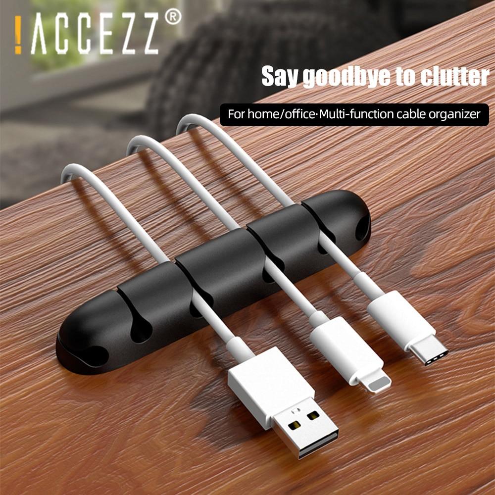 ¡! ACCEZZ Cable organizador personalizado Cable USB de silicona Winder gestión Flexible Clips para cordón soporte para teclado de ratón auricular de oficina del coche