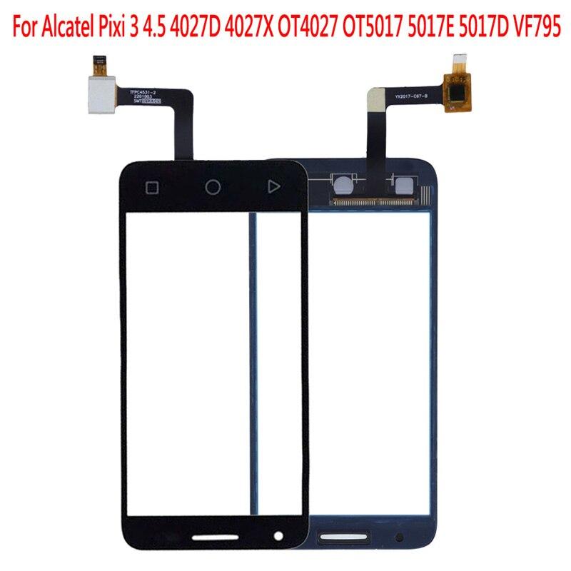 Para Alcatel One Touch Pixi 3 OT4027 4027D 4027X 5017 5017E VF795 LCD Digitalizador de pantalla táctil Panel frontal exterior Sensor de lente de vidrio
